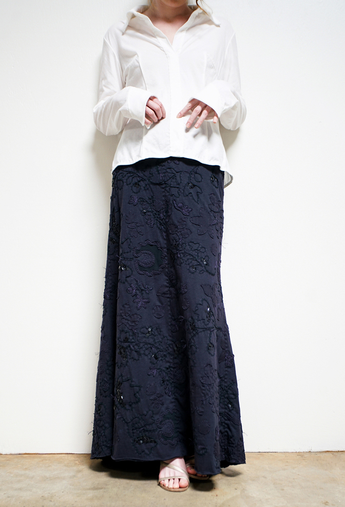 Alabama chanin beaded long skirt 6
