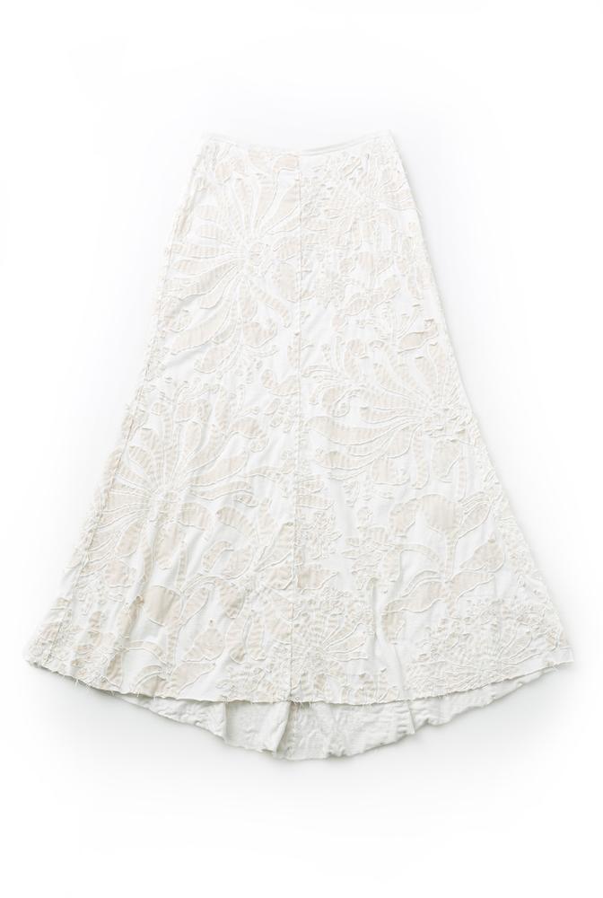 Alabama chanin embellished floral cotton skirt 1