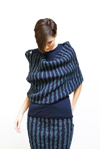 Alabama chanin embroidered striped organic cotton stole 4