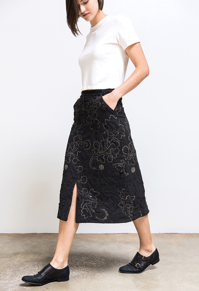 Alabama chanin organic cotton floral skirt 2