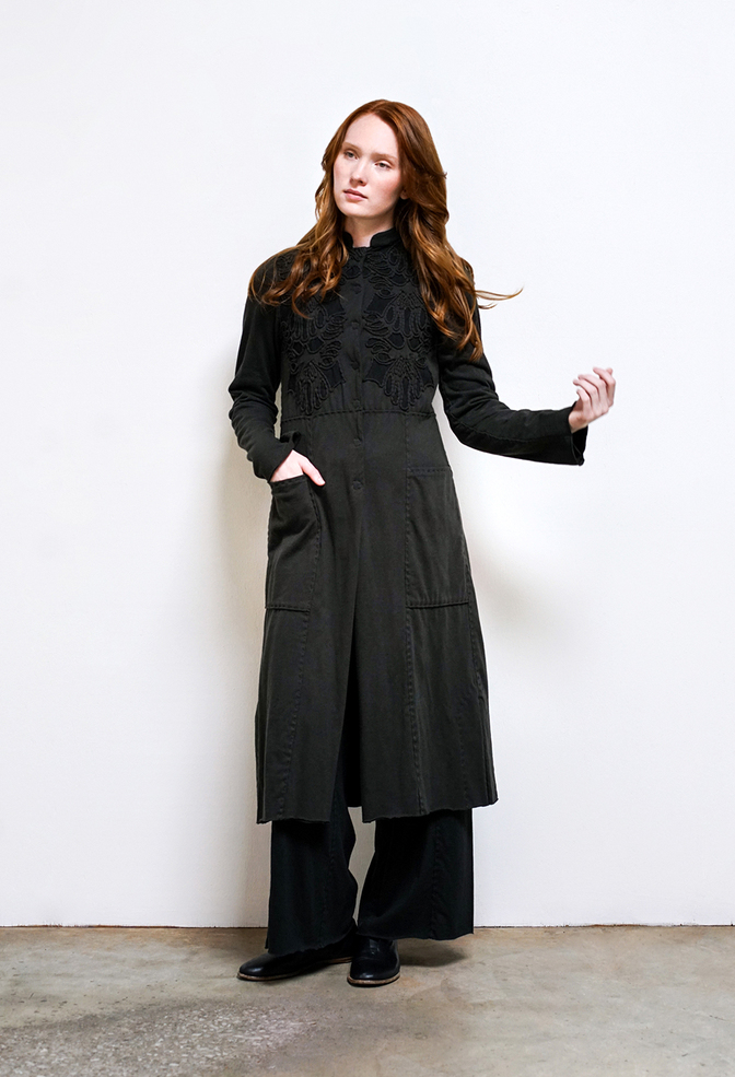 Alabama chanin organic cotton womens handsewn blake coat 1