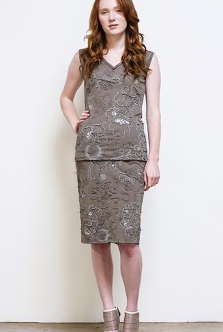 Alabama chanin hand embroidered beaded sequin elastic waist pencil skirt 4