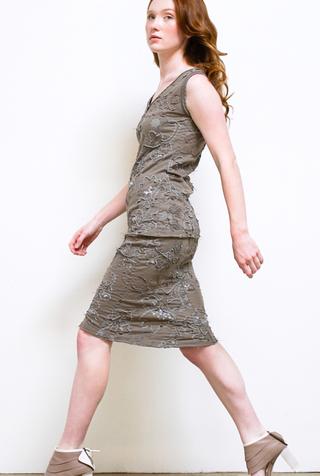 Alabama chanin hand embroidered beaded sequin elastic waist pencil skirt 5