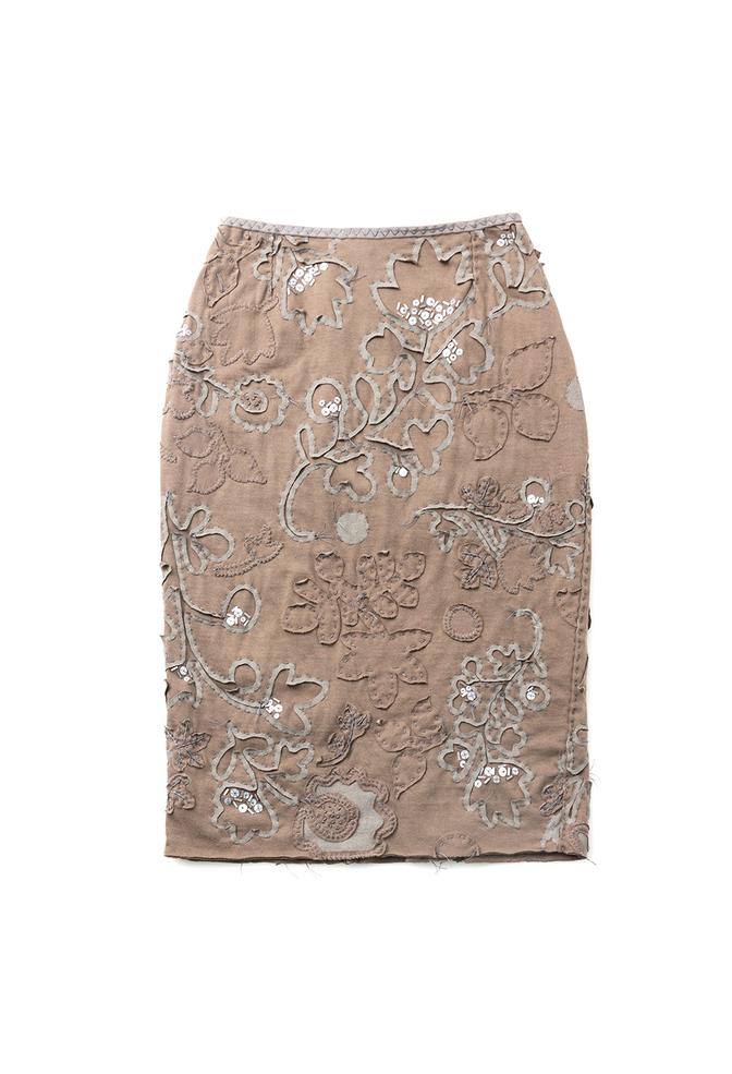 Alabama chanin hand embroidered beaded sequin elastic waist pencil skirt 1