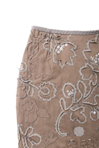Alabama chanin hand embroidered beaded sequin elastic waist pencil skirt 2