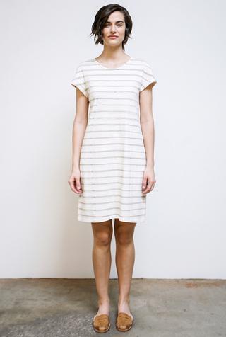Alabama chanin stripe organic cotton casual dress 1