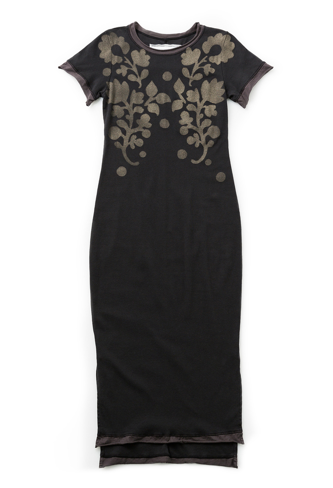 Alabama chanin organic rib knit fitted stenciled dress 1