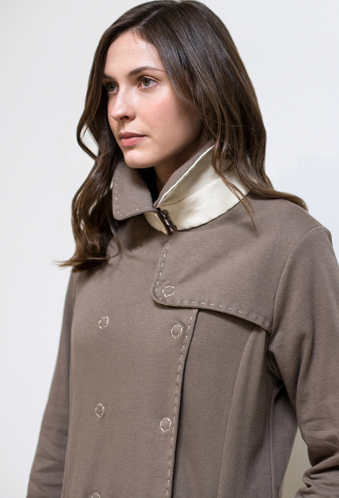 Alabama chanin double breasted trench coat 1